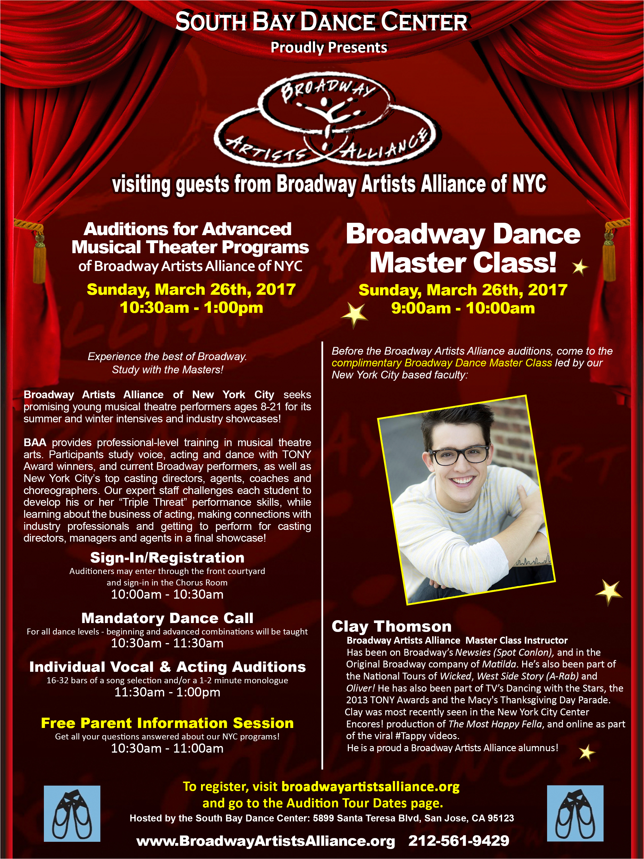 2017 San Jose Auditions and Free Master Class | Broadway Artists